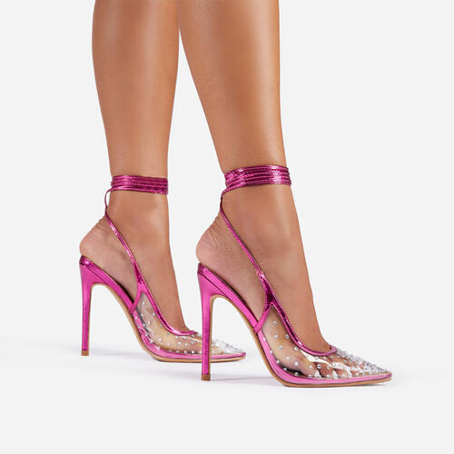 Skyla Lace Up Diamante Detail Pointed Toe Court Heel In Metallic Pink Faux Leather