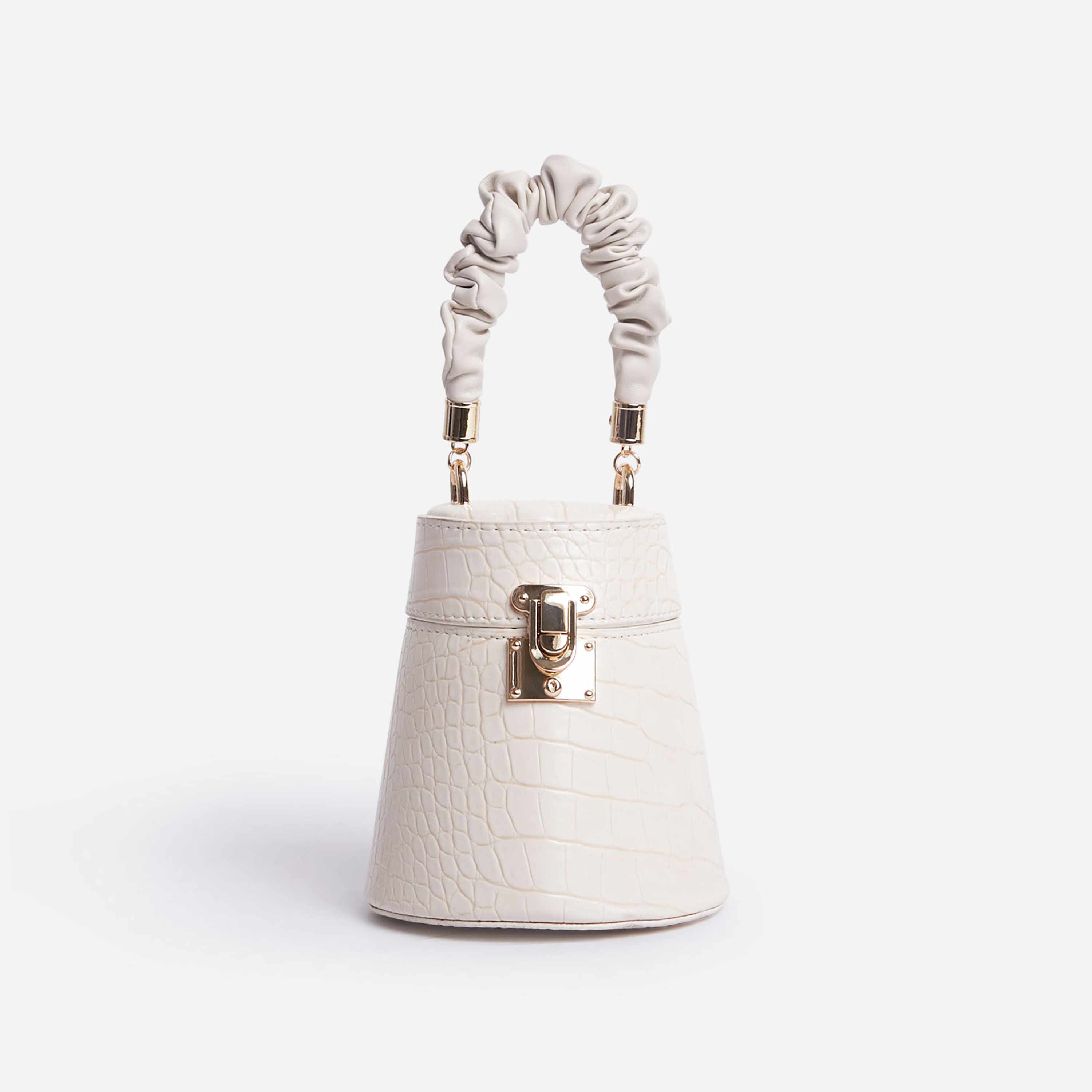 Florence Ruched Handle Mini Bag In White Croc Patent
