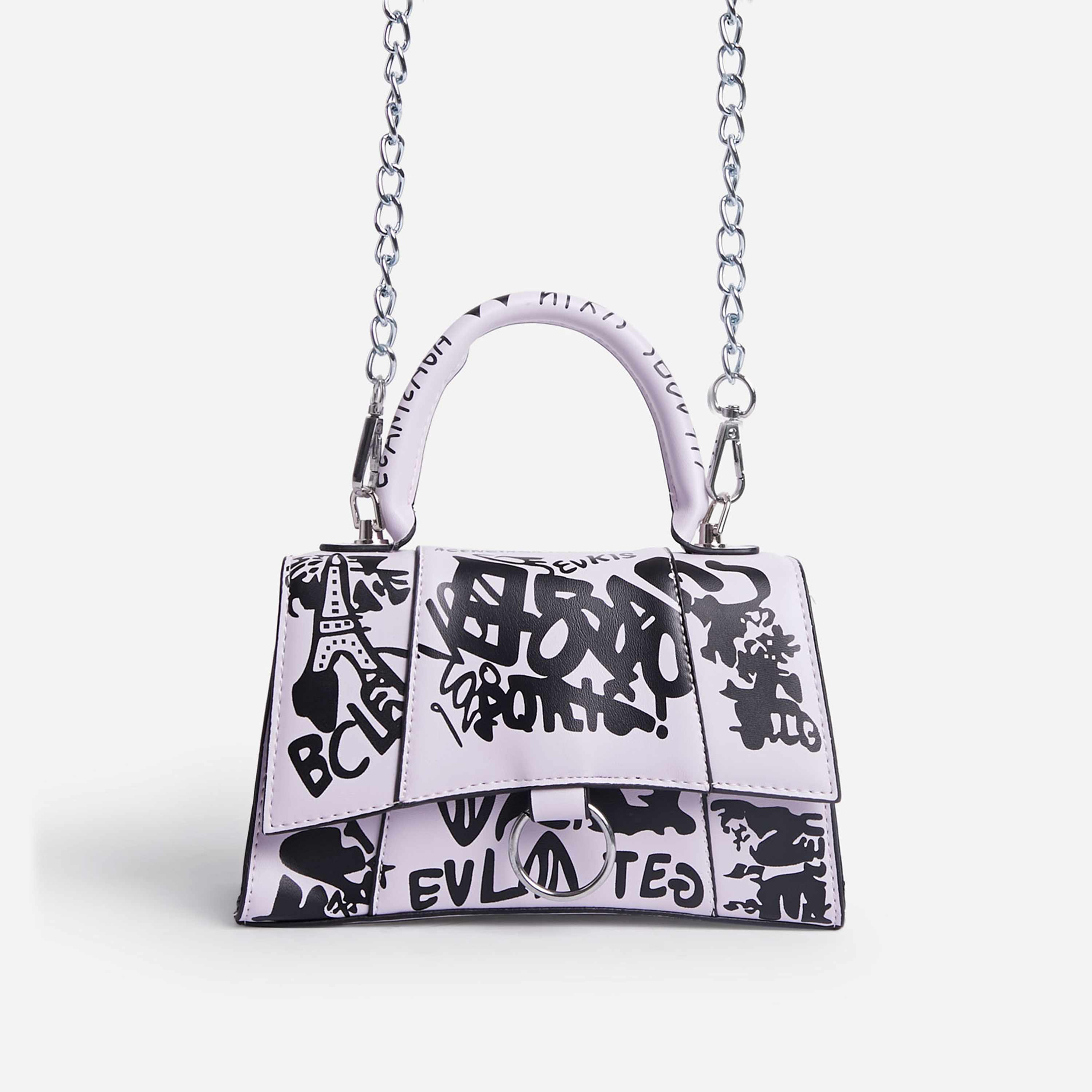 Scribble Chain Detail Graffiti Handbag In Pink Faux Leather