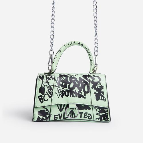 Scribble Chain Detail Graffiti Handbag In Green Faux Leather