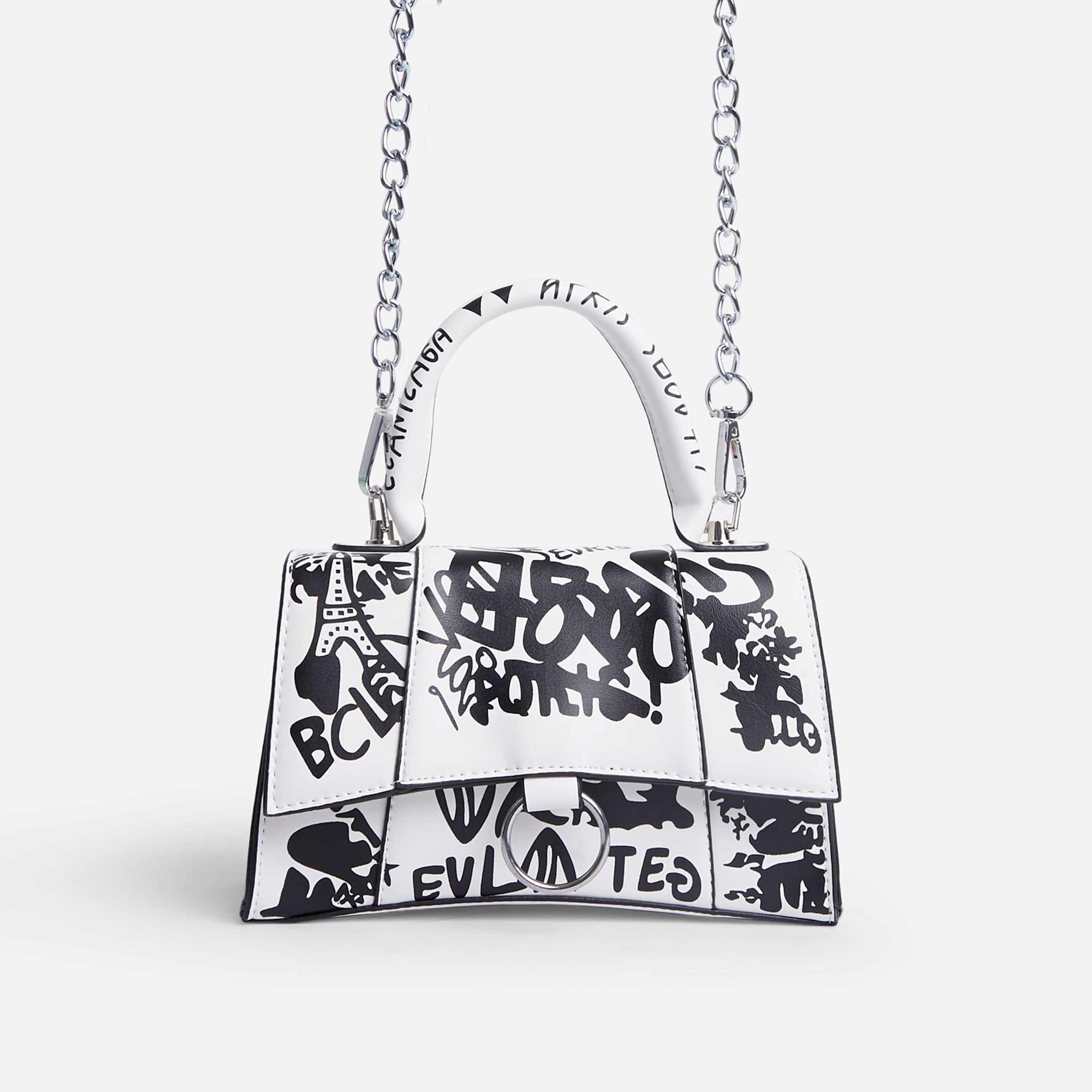 Scribble Chain Detail Graffiti Handbag In White Faux Leather