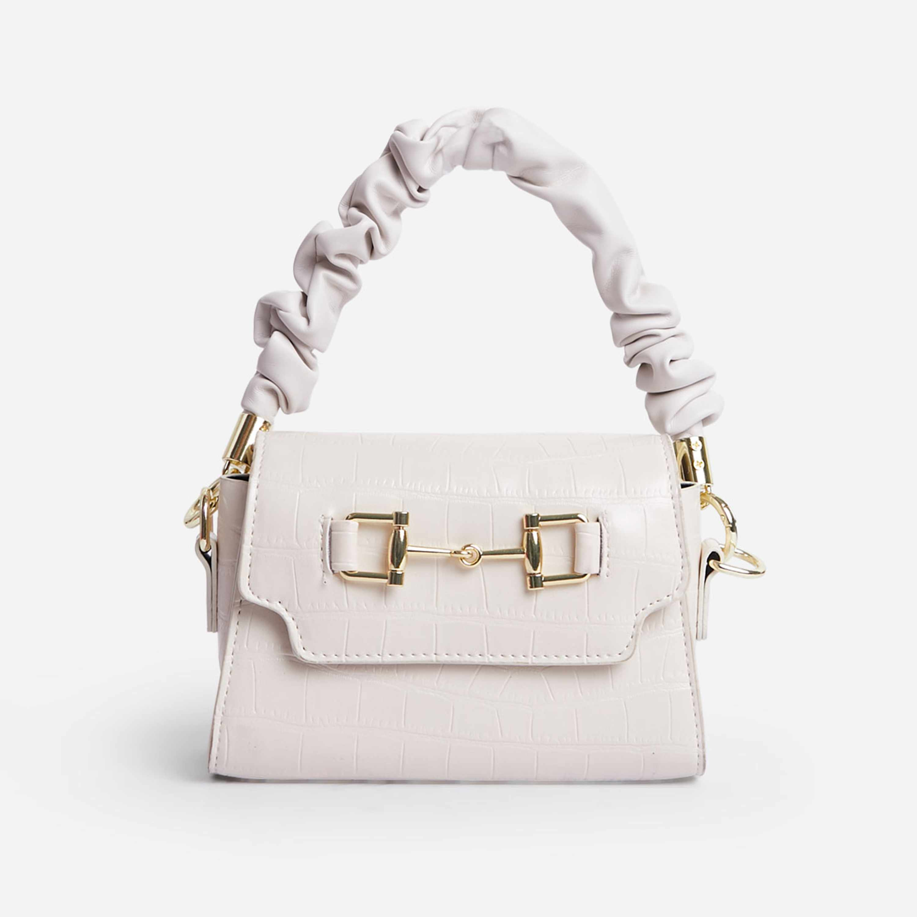 Mackie Ruched Handle Buckle Detail Shoulder Bag In White Croc Print Faux Leather