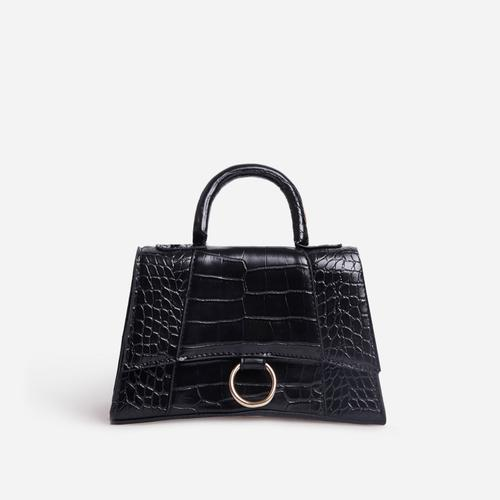 Georgie Ring Detail Tote Bag In Black Croc Print Patent