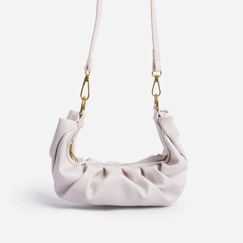 Jungle Chain Strap Ruched Shoulder Bag In White Faux Leather