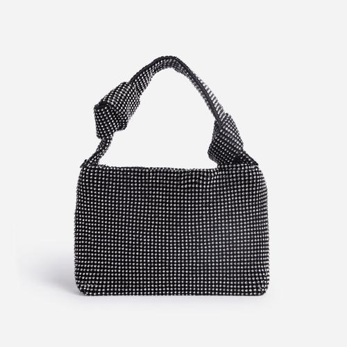 Billie Knotted Detail Grab Bag In Black  Diamante