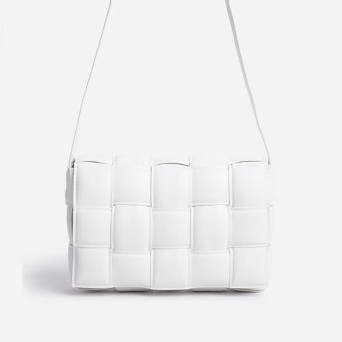 Mae Quilted Cross Body Bag In White Faux Leather