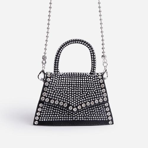 Shine Diamante Detail Mini Grab Bag In Silver