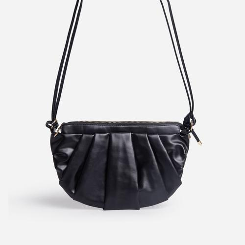 Ariel Ruched Detail Curved Cross Body Bag In Black Faux Leather