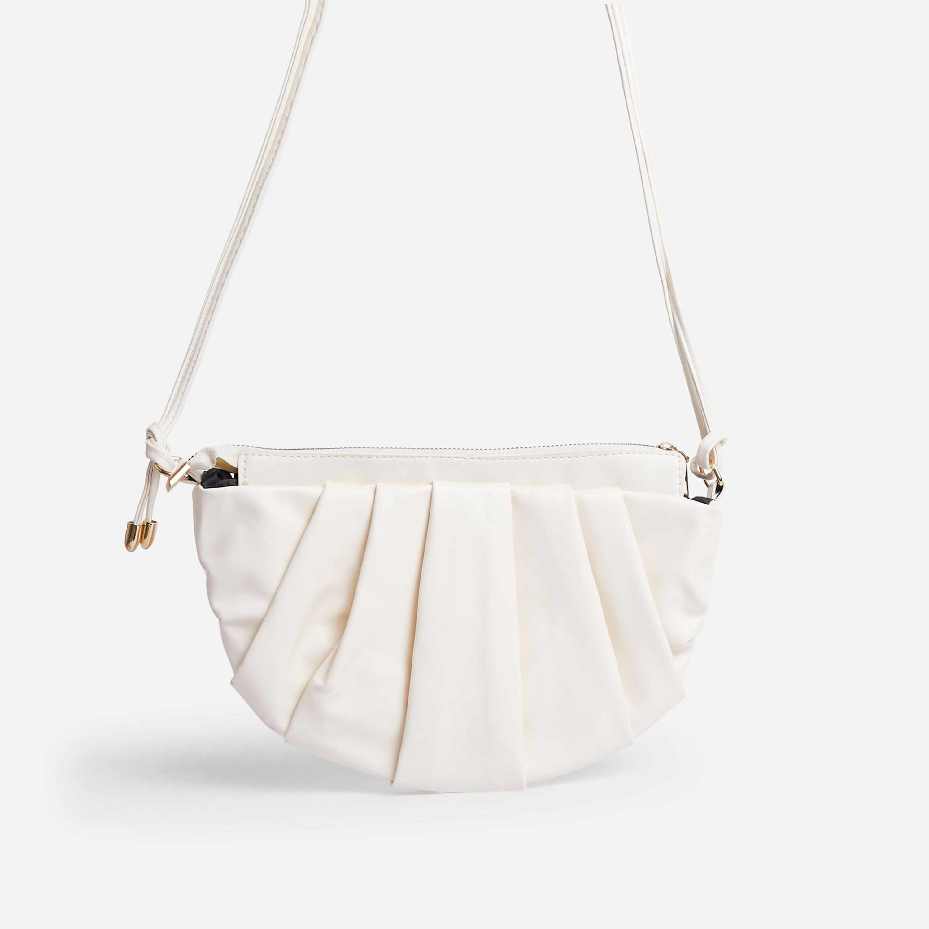 Ariel Ruched Detail Curved Cross Body Bag In White Faux Leather