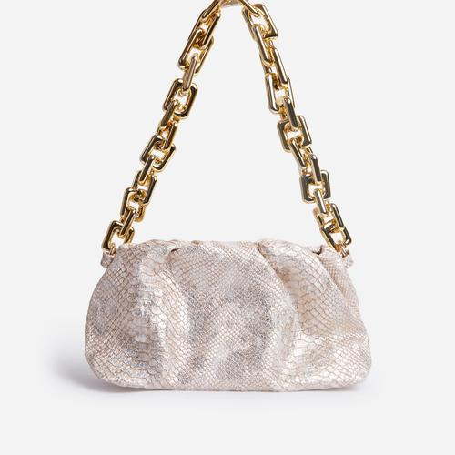 Mermaid Chunky Chain Pouch Bag In Metallic Gold Snake Print Faux Leather