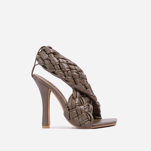 Impress Square Toe Woven Wrap Heel In Khaki Green Faux Leather