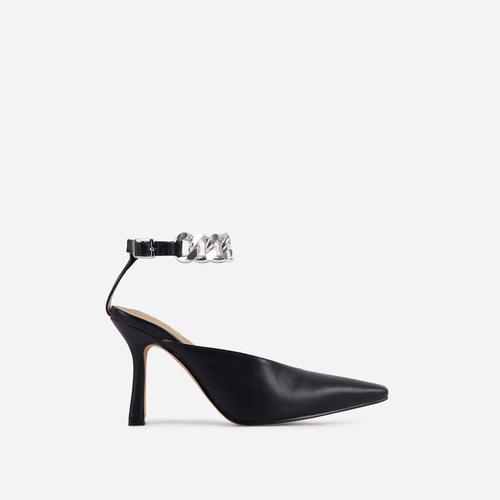 Antidote Chain Detail Ankle Strap Pointed Toe Heel In Black Faux Leather