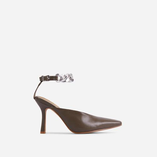 Antidote Chain Detail Ankle Strap Pointed Toe Heel In Khaki Green Faux Leather