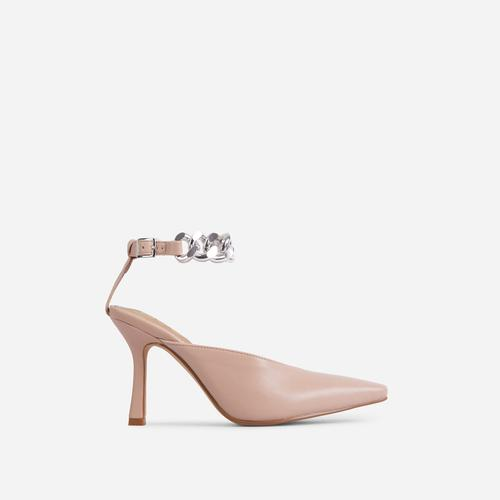 Antidote Chain Detail Ankle Strap Pointed Toe Heel In Nude Faux Leather