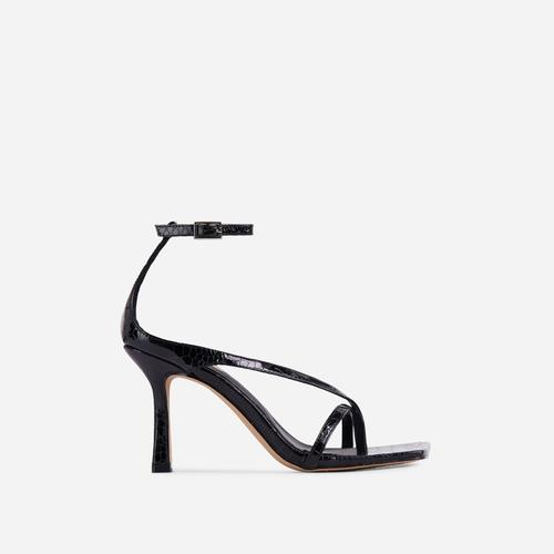 Eve Square Toe Strappy Heel In Black Croc Print Patent