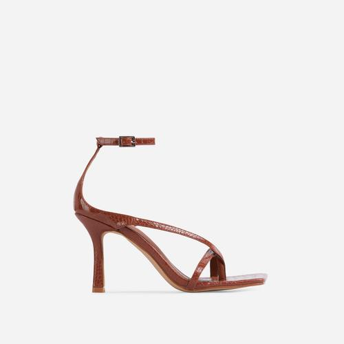 Eve Square Toe Strappy Heel In Tan Brown Croc Print Patent