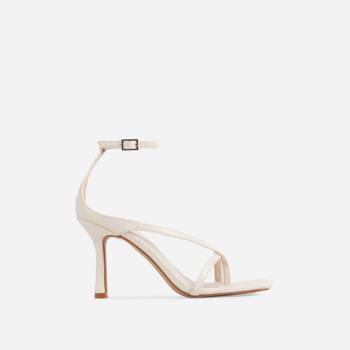 Eve Square Toe Strappy Heel In Cream Croc Print Patent