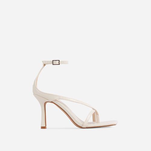 Eve Square Toe Strappy Heel In Cream Croc Print Patent