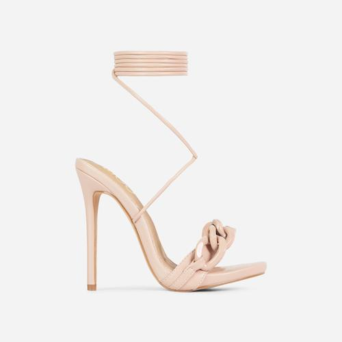 Envious Lace Up Chain Detail Heel In Nude Faux Leather