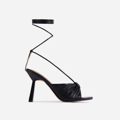 Adrenaline Pleated Knot Detail Lace Up Square Peep Toe Heel In Black Faux Leather