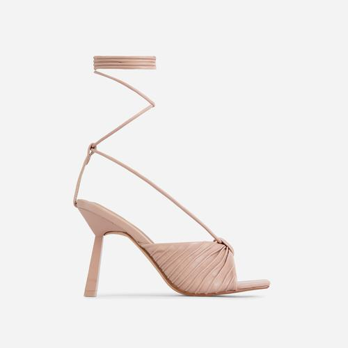 Adrenaline Pleated Knot Detail Lace Up Square Peep Toe Heel In Nude Faux Leather