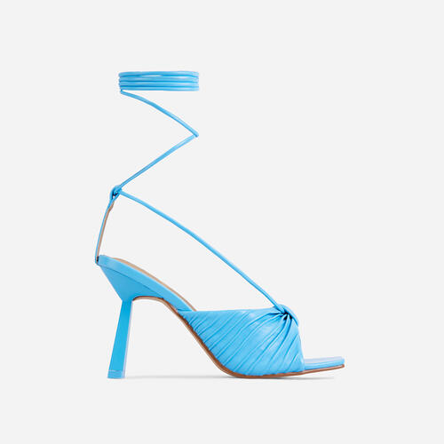 Adrenaline Pleated Knot Detail Lace Up Square Peep Toe Heel In Blue Faux Leather