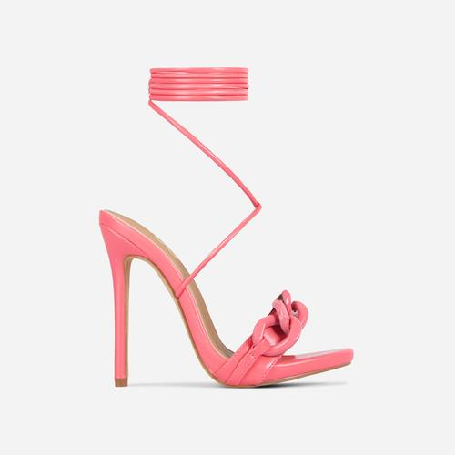 Envious Lace Up Chain Detail Heel In Pink Faux Leather