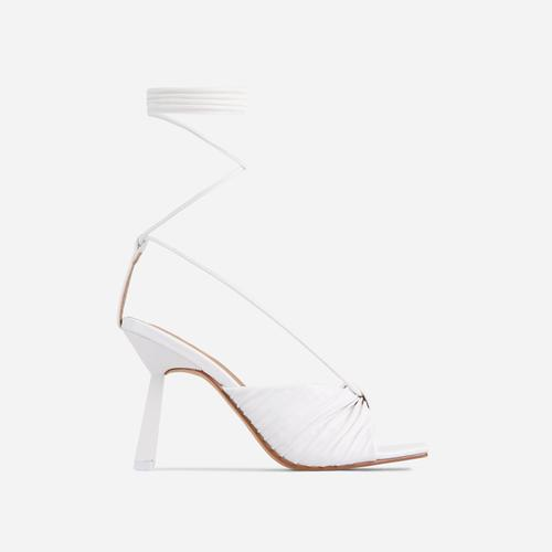 Adrenaline Pleated Knot Detail Lace Up Square Peep Toe Heel In White Faux Leather