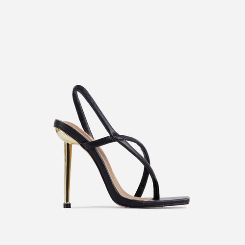 Cadillac Cross Strap Square Toe Metallic Heel Mule In Black Faux Leather