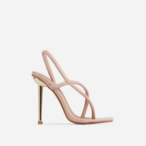 Cadillac Cross Strap Square Toe Metallic Heel Mule In Nude Faux Leather