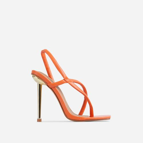 Cadillac Cross Strap Square Toe Metallic Heel Mule In Orange Faux Leather