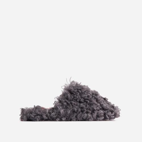 Hot-Fuzz Closed Toe Slipper In Grey Faux Shearling