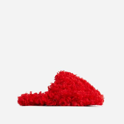 Hot-Fuzz Closed Toe Slipper In Red Faux Shearling