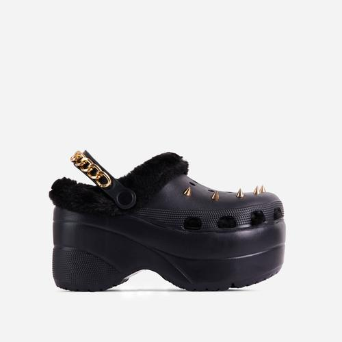 Monster Chain Slingback Studded Detail Faux Fur Trim Chunky Sole Flatform In Black Rubber Black Rubber
