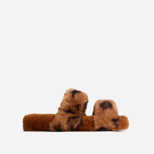Slumber-Party Fluffy Printed Detail Flat Slipper In Tan Brown Faux Fur