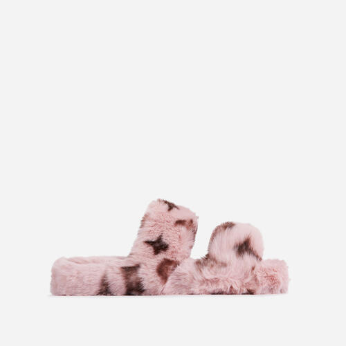 Slumber-Party Fluffy Printed Detail Flat Slipper In Pink Faux Fur