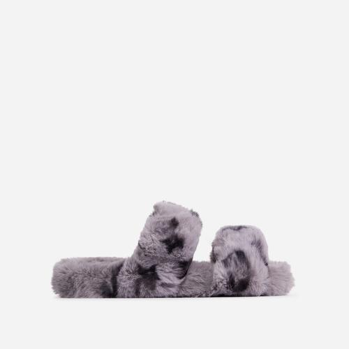 Slumber-Party Fluffy Printed Detail Flat Slipper In Grey Faux Fur