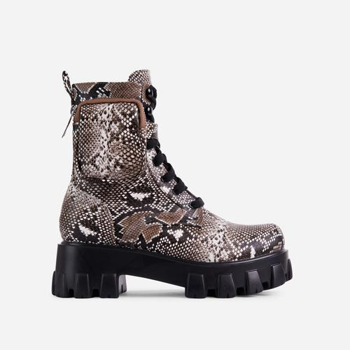 Flame Pocket Detail Lace Up Chunky Sole Ankle Biker Boot In Nude Snake Print Faux Leather