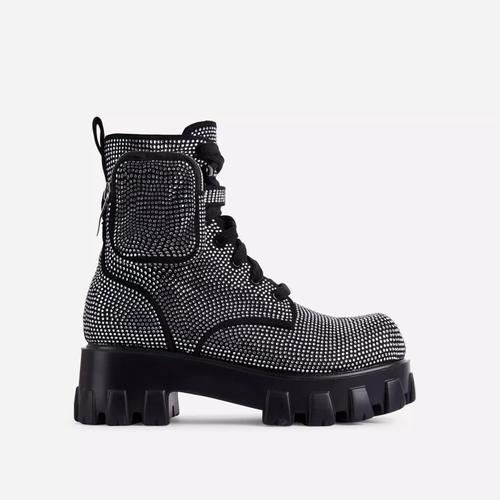 Iced Diamante Pocket Detail Lace Up Chunky Sole Ankle Biker Boot In Black Faux Leather