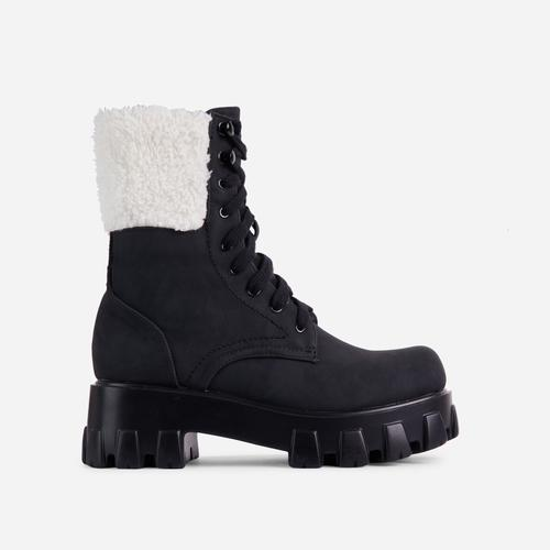 Lamb Faux Shearling Trim Lace Up Chunky Sole Ankle Biker Boot In Black Faux Suede