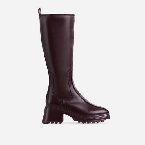 Burst Block Heel Knee High Long Wellington Boot In Dark Brown Faux Leather