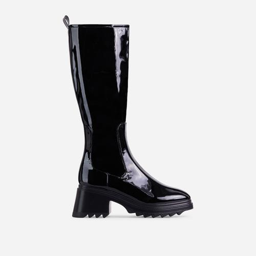 Burst Block Heel Knee High Long Wellington Boot In Black Patent