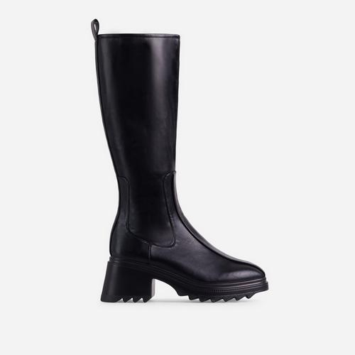 Burst Block Heel Knee High Long Wellington Boot In Black Faux Leather