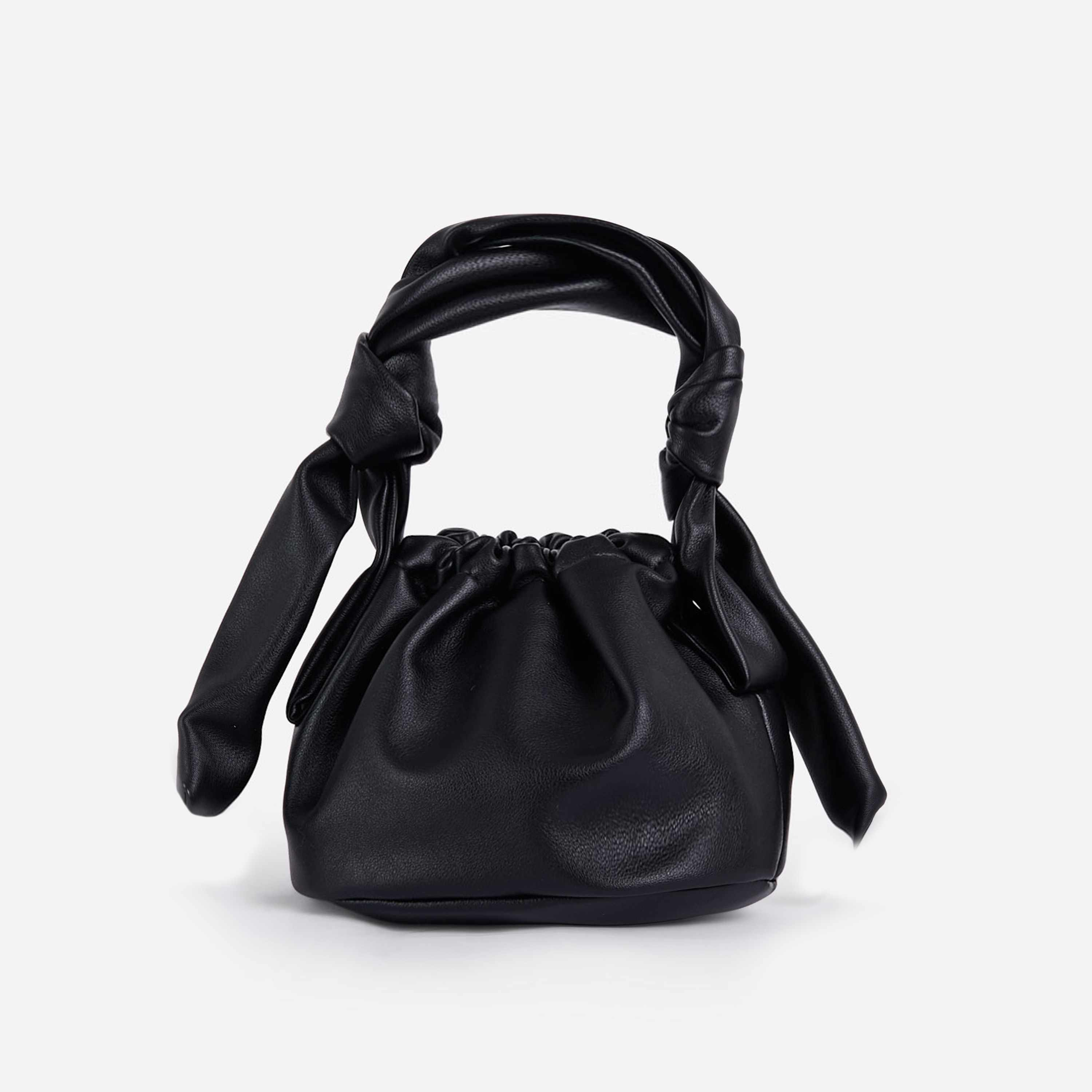 Cindy Knotted Detail Bucket Bag In Black Faux Leather