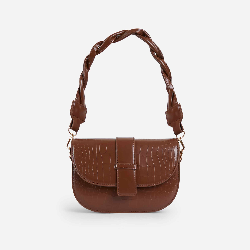 Kris Woven Handle Saddle Bag In Tan Brown Croc Print Faux Leather
