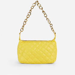 Glare Chain Detail Quilted Shoulder Bag In Yellow Faux Leather