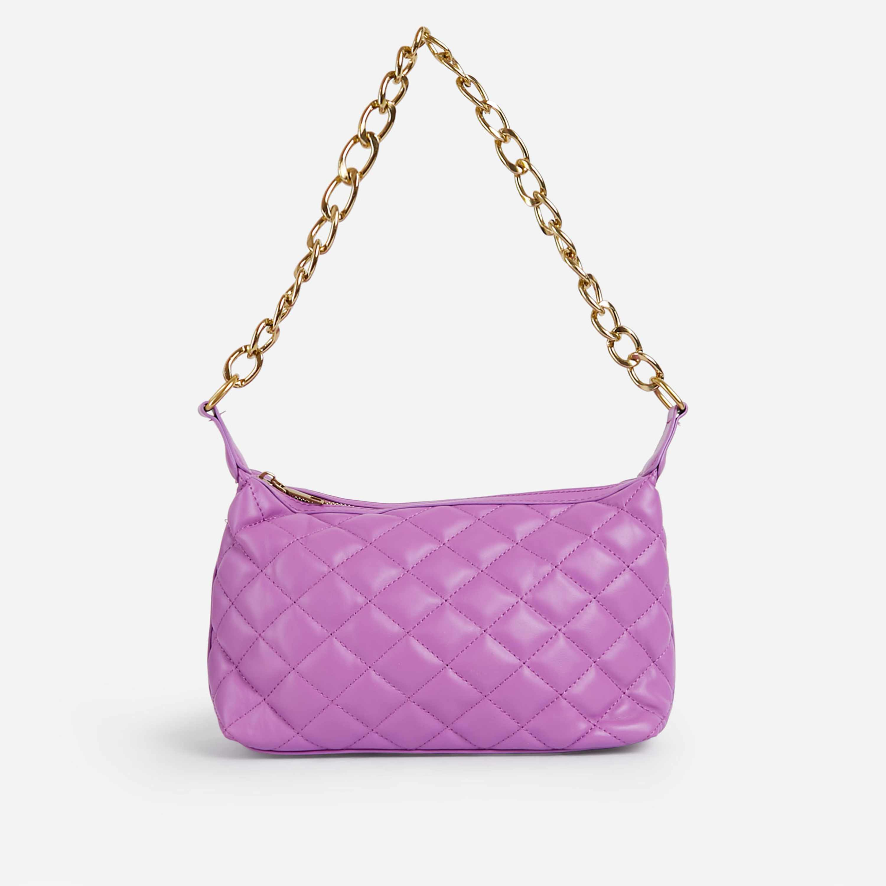 Glare Chain Detail Quilted Shoulder Bag In Pink Faux Leather