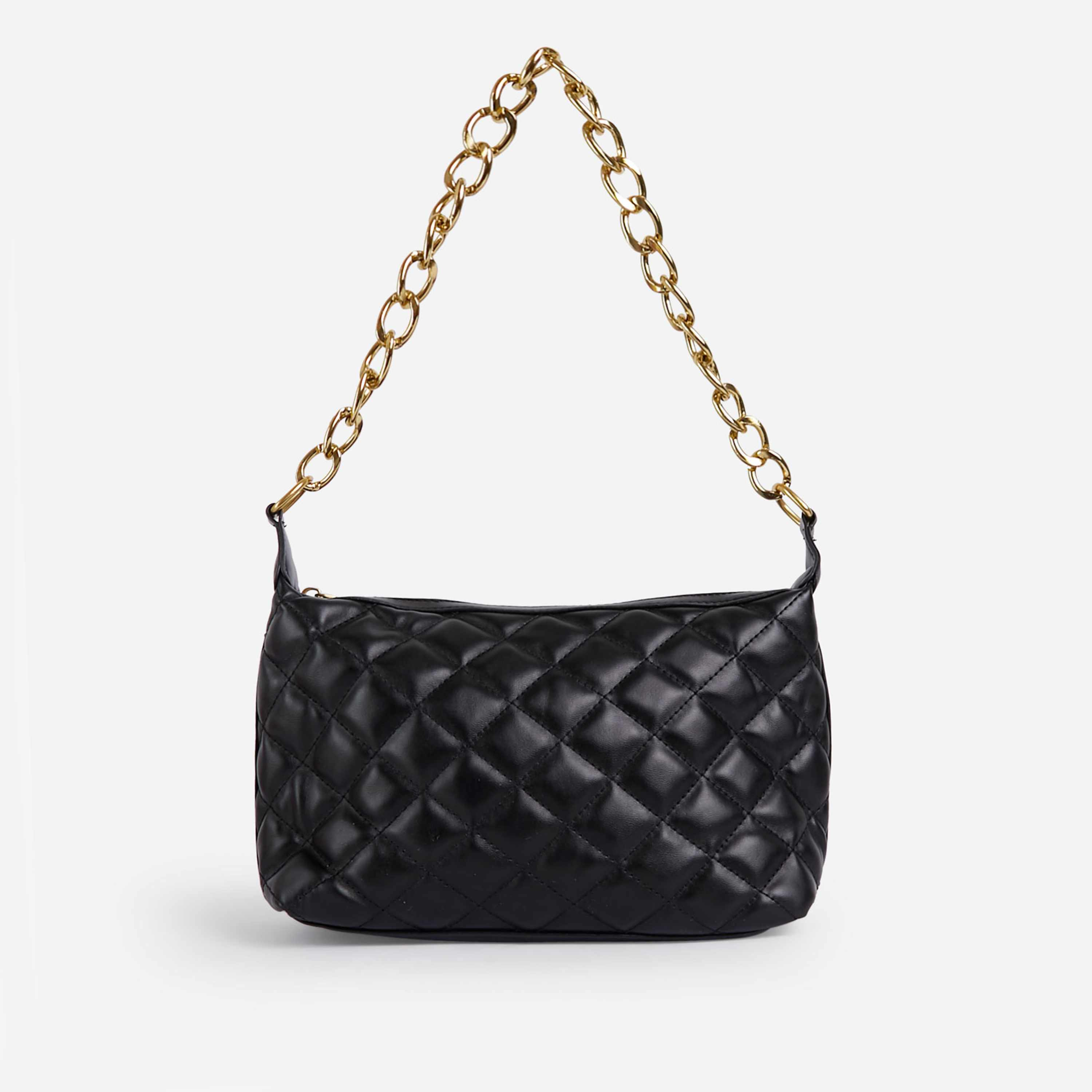 Glare Chain Detail Quilted Shoulder Bag In Black Faux Leather