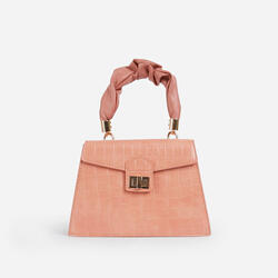 Margo Ruched Handle Detail Box Bag In Orange Croc Print Faux Leather