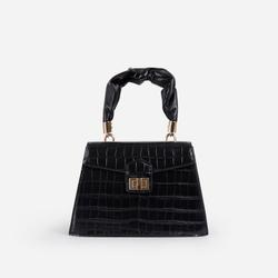 Margo Ruched Handle Detail Box Bag In Black Croc Print Faux Leather